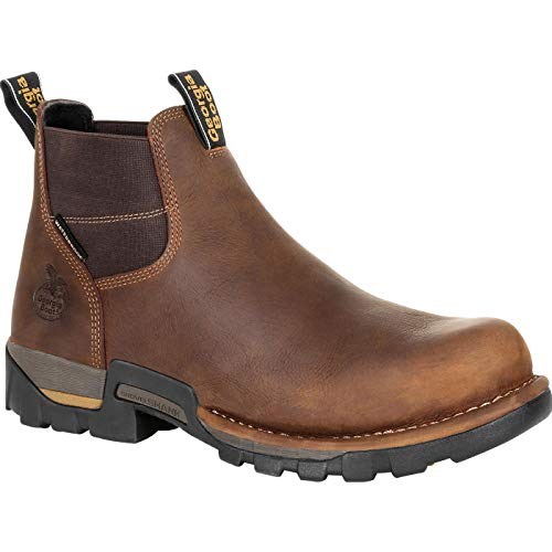 Georgia Boot Men's Eagle One Waterproof Chelsea Soft Toe Brown 11 EE - Boot Eagle Leather