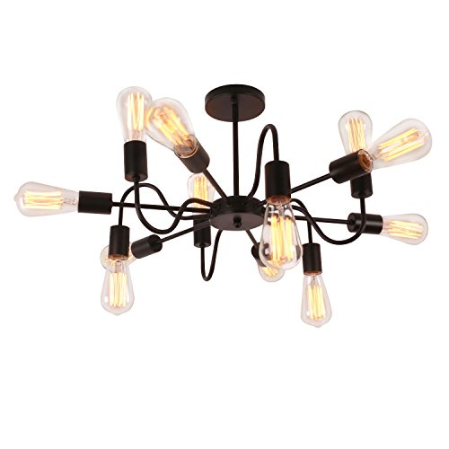 Unitary Brand Antique Black Metal Art Deco Chandelier with 12 E26 Bulb Sockets 480W Painted Finish