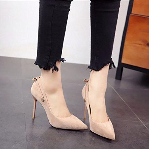 sexy y de señaló europeo b zapatos solo mujer tacón delgada zapato zapatos trabajo de Suede FLYRCX estilo superficial qgw4v8wF