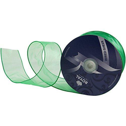 Green Organza Wired Sheer Ribbon 2.75