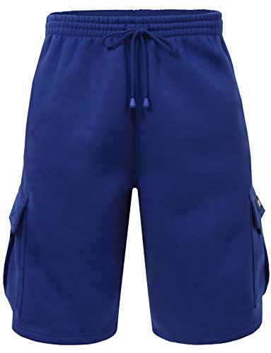 NE PEOPLE Mens Light Comfy Elastic Drawstring Fleece Cargo Sweat Shorts (Cargo Hoody Fleece)
