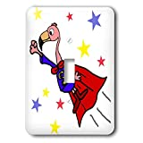 3dRose All Smiles Art - Funny - Cute Funny Flying Pink Flamingo Superhero in Red Cape - Light Switch Covers - single toggle switch (lsp_291112_1)