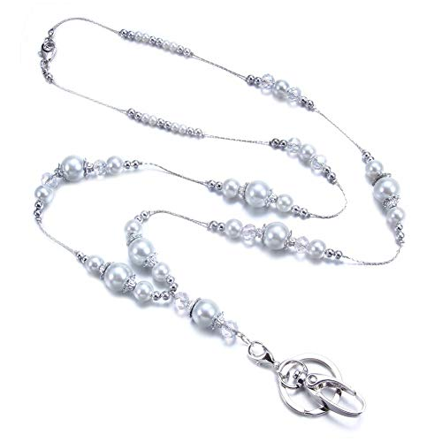 - Royalbeier Lanyard Necklace Long ID Necklace Ball Beaded ID Lanyard Necklace for Keys ID Badge Holder for Women Ladies