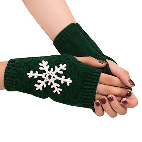 URIBAKE Women's Girls' Wrist Warmer Christmas Snowflake Knitted Fingerless Winter Soft Warm Gloves Mitten