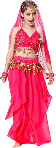 Breevo Belly Dance Costume for Girls Kids Dancer 4T 4 5 6 7 8 10 12 14 16 S M Hotpink ()