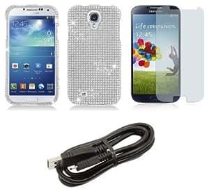 Bloutina Samsung Galaxy S4 - Premium Accessory Kit - Silver Diamond Bling Case + ATOM LED Keychain Light + Screen Protector...