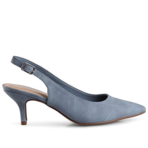 LUSTHAVE Women's Betty Kitten Heel Sling Back Closed Pointy Almond Medium Heel Pumps Shoes Blue 7.5 by LUSTHAVE (Image #1)