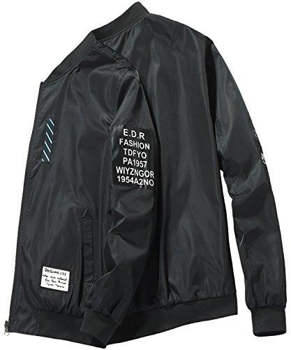 HENGAO Men's Casual Zipper Front Patchwork Varsity Bomber Baseball Flight Jacket Coat Outwear, Black