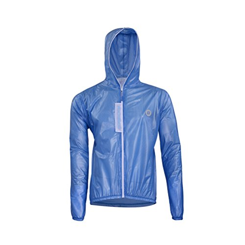 RockBros Ultra Lightweight Rain Jacket Saftey Outdoor Waterproof Rain Jacket for Men/Women, Reflective Raincoat Blue For Sale