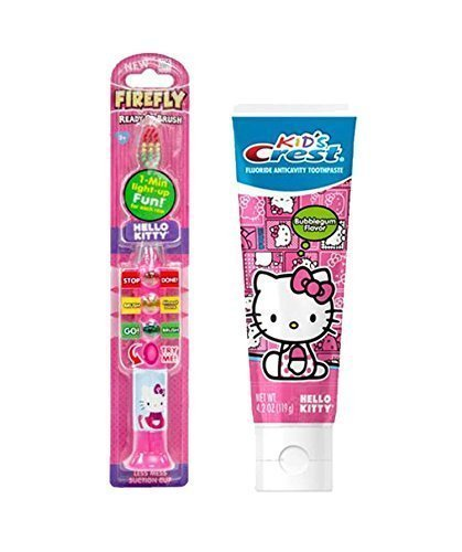 Hello Kitty Light up Toothbrush and Timer with Crest Hello Kitty Bubble Gum Flavored Toothpaste ()