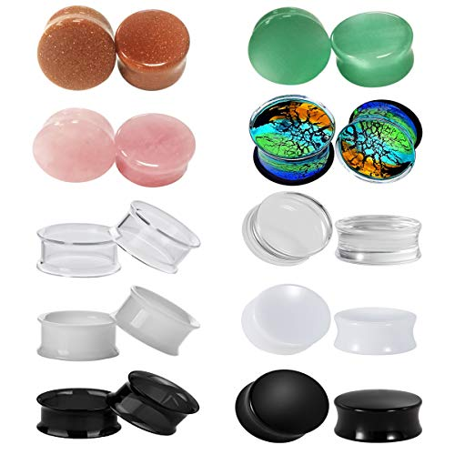 SUPTOP 20pcs Mixed Opal Stone Ear Plugs Hollow Acrylic 0g Ear Tunnels Glass Gauges for Ear Size 2g to 5/8 Inch