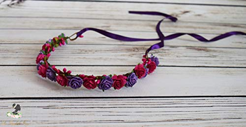 Boho Flower Crown - Romantic Wedding - Hot Pink Flower Crown - Purple Flower Halo - Bridal Flower Crown - Oktoberfest Flower Crown - Small Flower Halo