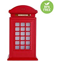 Roowo Telephone Booth Humidfifier 300ml Aroma Essential Cool Oil Diffuser with Waterless Auto Shut-off,7 Color LED Lights Changing for Office ,Bedroom ,Living Room, Yoga Spa,Gift.