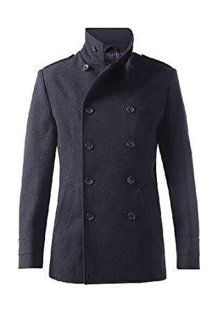 MENS MILITARY STYLE DOUBLE BREASTED WOOL BLEND PEA COAT - CHARCOAL ...