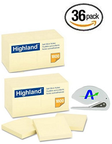 Highland Notes 6549-36PK, 3 x 3-Inches, with Bonus AdvantageOP Custom Letter Opener, Yellow Notes, 36 Per Pack, Made in USA by Highland Advantage Online
