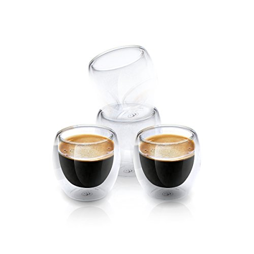 Espresso Shot Glass Cups For All Coffee Lovers - 80ml (2.7 oz) Double-Walled Heat-Resistant Clear Coffee Shots | Dishwasher-Safe & Chic | Set Of 4 | Gift Box and Bonus Ebook - Scoop Wall Washer