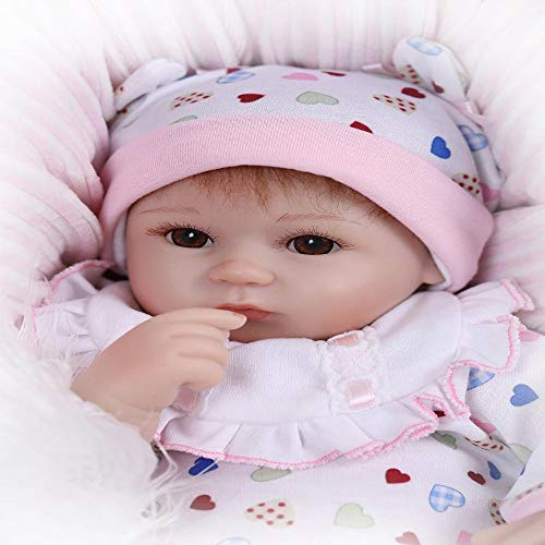 Glumes 16.5 inch Lovely Reborn Baby Girl Doll Reborn Toddler Realistic Looking Lifelike Baby Doll Vinyl Soft Silicone Babies Red Hair Xmas Gift with Outfits & Magnetic Pacifier