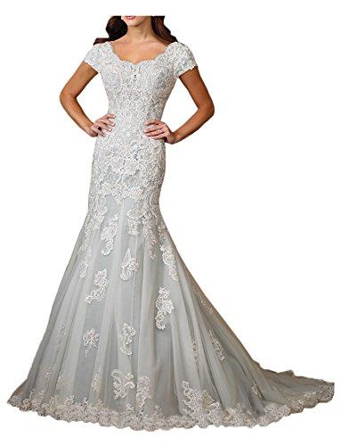 Gorgeous Bride Elegant Kurz Aermel Meerjungfrau Satin Tuell Spitze Brautkleider Lang Hochzeitskleider