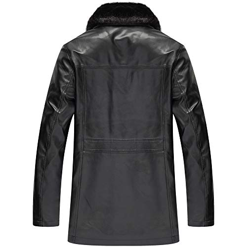 Allywit Men's Winter Full Zipper Thick Lined Faux Leather Jacket Big and Tall by Allywit (Image #1)
