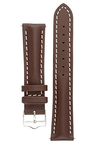 Signature Racing Coffee 24 mm Watch Band. Replacement Watch Strap. Genuine Leather. Silver Buckle