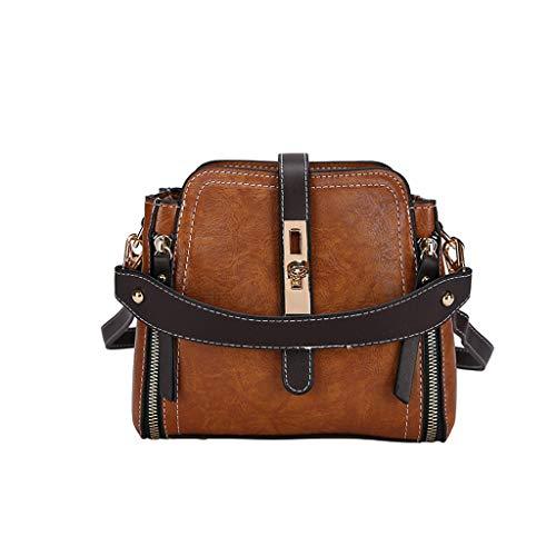 DDKK bags Retro Leather Crossbody Bag One-Shoulder Bag-College School Travel Handbag-Zipper Pocket Messenger Tote Hot ()