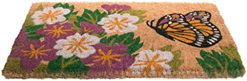 Imports Decor Printed Coir Doormat, Butterfly Garden, 18-Inch by 30-Inch