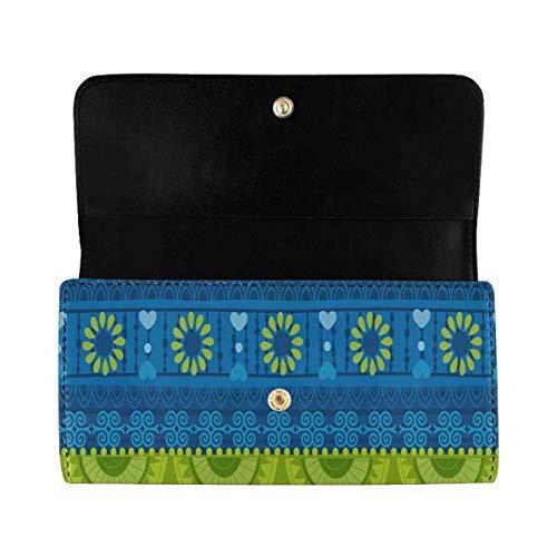 InterestPrint Women's Trifold Long Clutch Card Holder Vintage Tribal African Art PU Leather Clutch Bag
