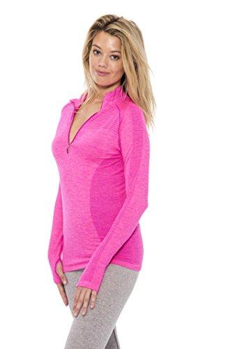Unique Styles Seamless Active Living Pull Over Top Zip Up Sweatshirt Hoodie,  Fuschia, (Seamless Hoodie Top)