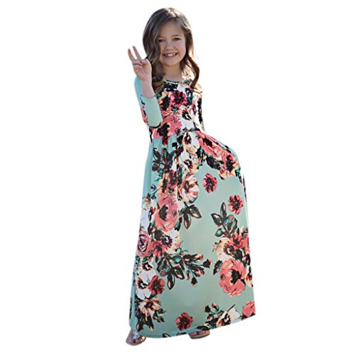 Maxi Dress Toddler Girl 3/4 Sleeve Floral Pleated Casual Long Princess Dress Green]()