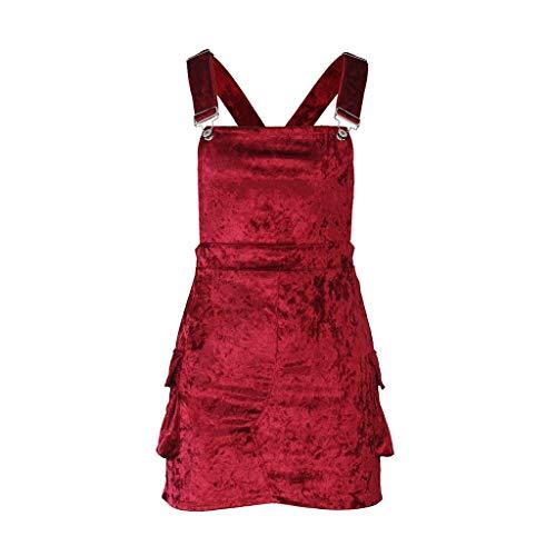 - LISTHA Women Suspender Mini Bib Overall Pocket Dress Corduroy Straight Skirts