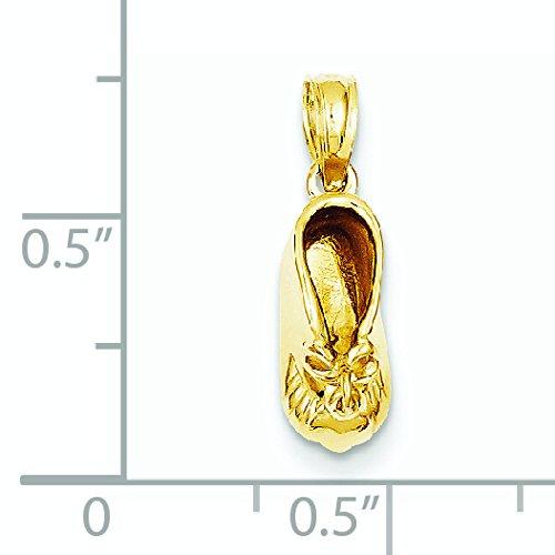 Baby Booty 14 carats avec pendentif coeur-Dimensions :  16,7 x 5,3 mm-JewelryWeb