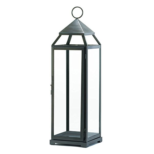 Zingz and Thingz Extra Tall Contemporary Lantern in Brushed Silver