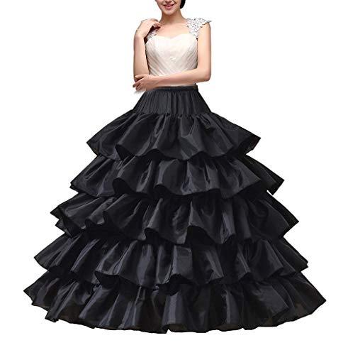 YULUOSHA Women's Crinoline Petticoat 4 Hoop Skirt 5 Ruffles Layers Ball Gown Half Slips Underskirt for Wedding Bridal Dress (Black)