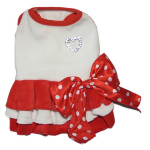 Puppy Angel Designer Dog Apparel - Tallulah Two-Tone Dress - Color: Red, Size: S by Puppy Angel