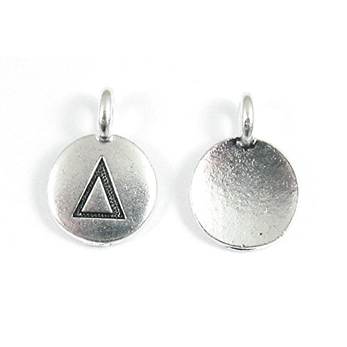 TierraCast Pewter Greek Letter Charms-SILVER ROUND DELTA 12x16mm (2)