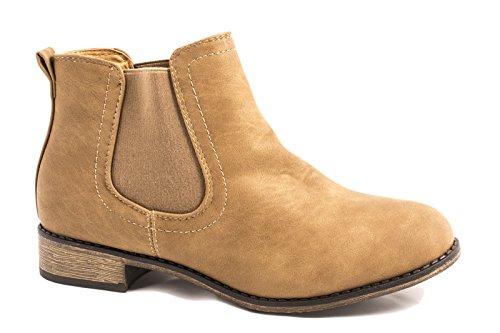 Elara Chelsea Boots | Bequeme Damen Stiefeletten | Lederoptik Blockabsatz |chunkyrayan Khaki Andalusien