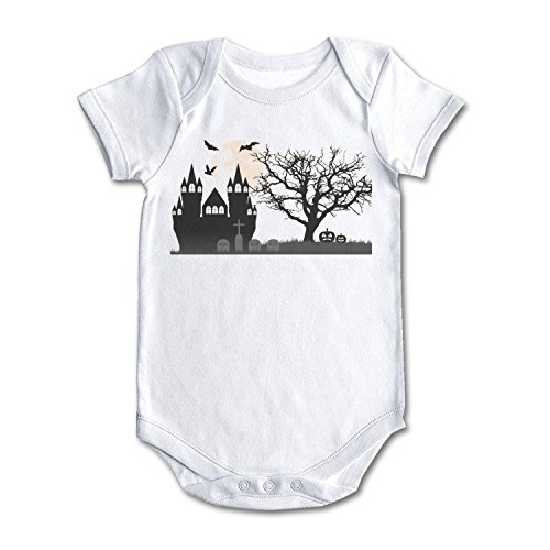 Happy Halloween Castle Tombstone Bat Pumpkin Cool Design Baby Girl Boy Outfit White]()