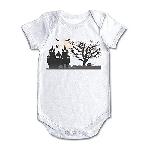 (Happy Halloween Castle Tombstone Bat Pumpkin Cool Design Baby Girl Boy Outfit)