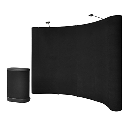 Yescom 10x8ft Black Pop Up Trade Show Display Booth Podium Promotion Counter Spotlight Exhibition Receptive