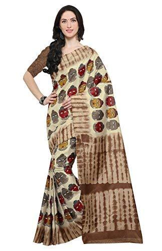 Rajnandini Women's Silk Kalamkari Printed Saree(JOPLEI1010_Beige_Free Size)
