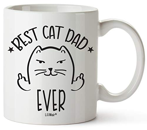 Christmas Gifts For Cat Lovers, Funny Cat dad Gift Mug Themed Cup.Crazy Cat man Lover Stuff Things Men Novelty Coffee Cups Mugs.Best Ever Cats Middle Finger Flicking Off Unique Catlover presents.