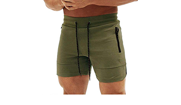 XXZ Mens Gym Workout Shorts Running Short Pants Fitted Training Bodybuilding Jogger with Zipper Pockets