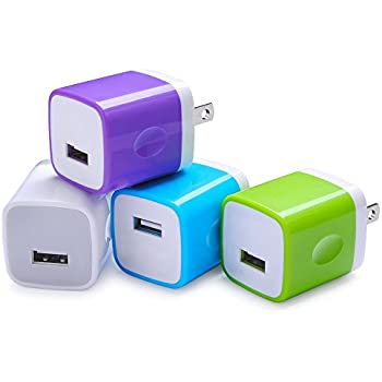 Wall Adapter, Sicodo 4-Pack Universal 1A USB Home Travel Wall Plug Charger Cubes for iPhone 7, 7 Plus, 6 Plus, 6s Plus, Tablet, Samsung Galaxy S8 Plus, S7 Edge, HTC, Nokia, LG, Sony and more