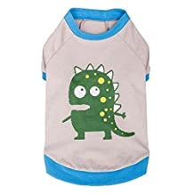 "Blueberry Pet Alien the Dinosaur Cotton Dog T Shirt in Grey, Back Length 10"", Pack of 1 Clothes for Dogs"