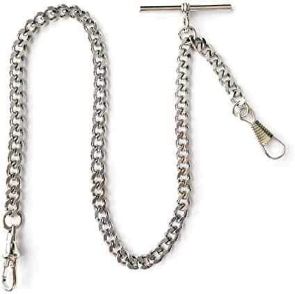 Dueber Deluxe Silver Chrome Single Albert Pocket Watch Chain Fob Drop Attachment USA