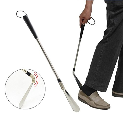 Metal Shoe Horns, Extra Long Shoe Horn with Flexible End and Double Sided Stainless Steel Travel Shoehorn with Leather Strap Superior for Boots, Shoes and More by Meiso (24'') by Meiso