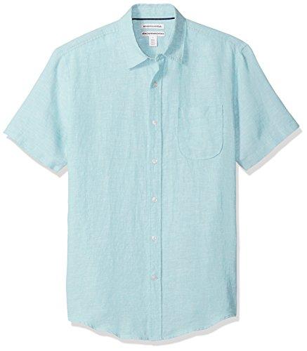 Amazon Essentials Men's Slim-Fit Short-Sleeve Linen Shirt, Aqua, XX-Large