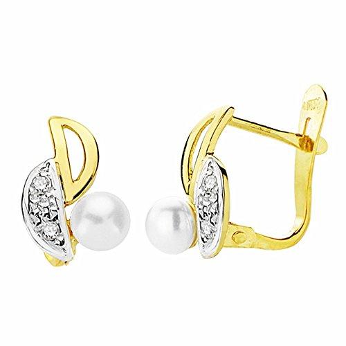 Boucled'oreille 11mm 18k bicolor d'or. perles zircons [AA2398]