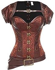 KIWI RATA Women's Steel Boned Vintage Corset Steampunk Gothic Bustier Waist Cincher Vest