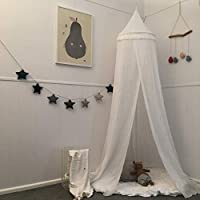 Zeke and Zoey Soft White Hanging Bed Canopy Tassels,...